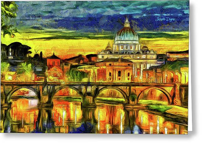 Bridge Of Angels Evening Greeting Card