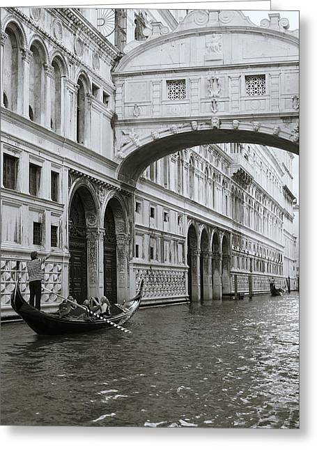 Bridge Of Sighs And Gondola, Venice, Italy Greeting Card