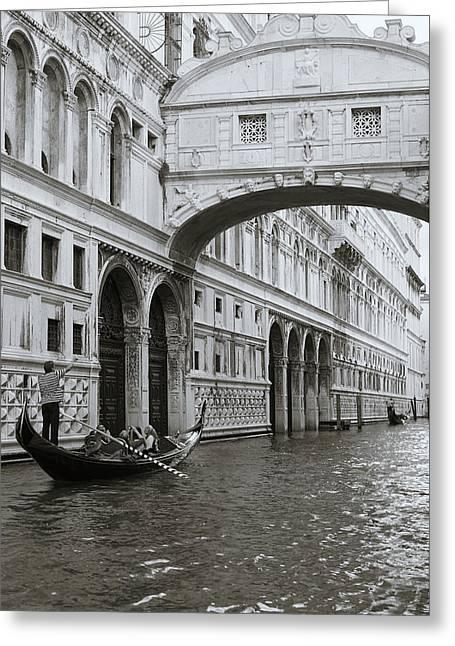 Bridge Of Sighs And Gondola, Venice, Italy Greeting Card by Richard Goodrich