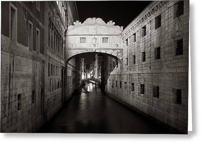 Bridge Of Sighs In The Night Greeting Card by Marco Missiaja