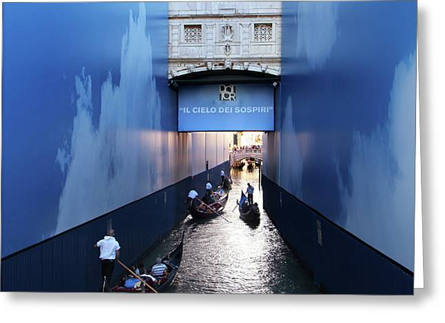 Bridge Of Sighs Wrapped In Blue Greeting Card
