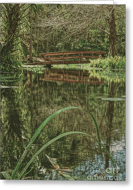 Bridge Over A Pond Greeting Card