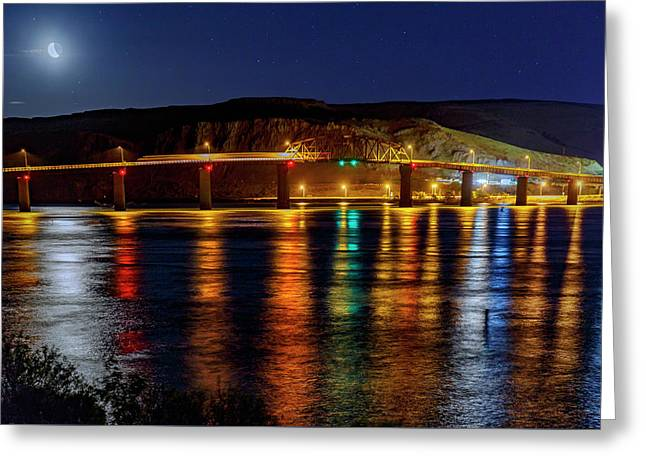 Greeting Card featuring the photograph Bridge Over Columbia Waters by Cat Connor