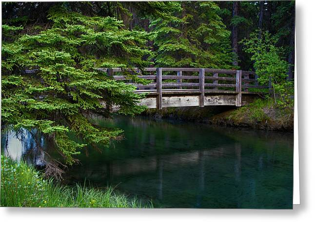 Greeting Card featuring the photograph Bridge Over Glacial Waters In Banff National Park by Dave Dilli