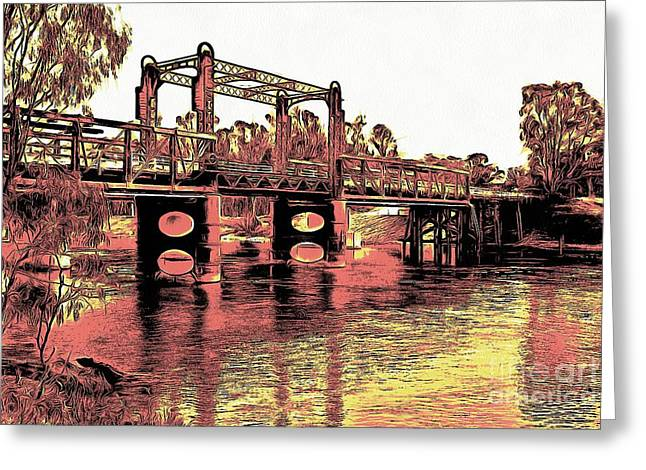 Greeting Card featuring the digital art Bridge Over Murray River by Fran Woods