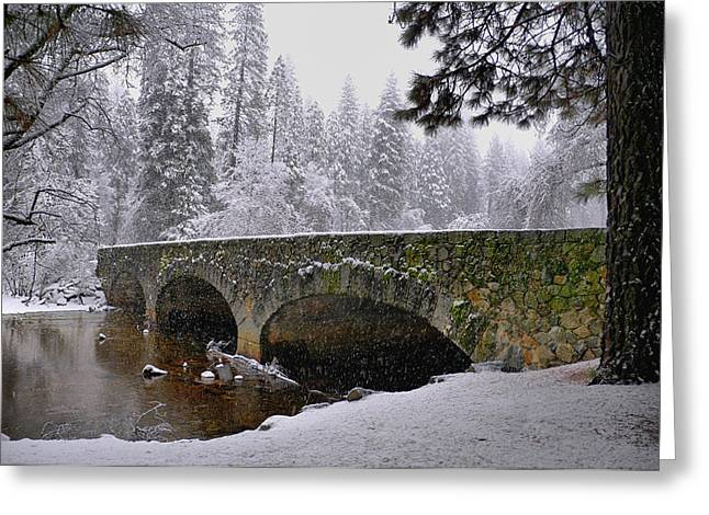 Bridge Over The Merced Greeting Card by Frank Remar