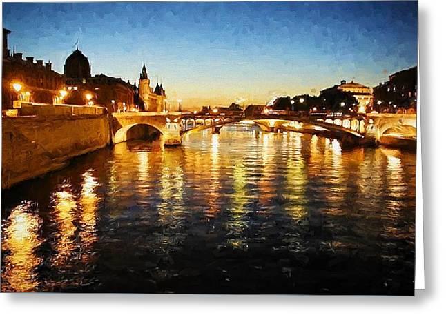 Bridge Over The Seine Greeting Card