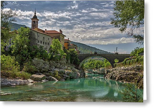 Greeting Card featuring the photograph Bridge Over The Soca - Kanal Slovenia by Stuart Litoff