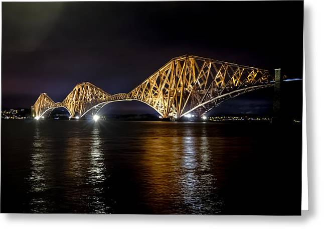 Bridge Over Water Lights. Greeting Card