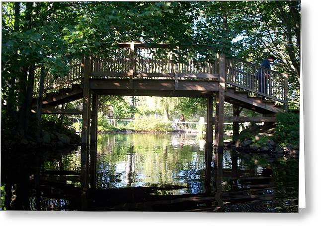 Bridge Over Water Greeting Card by Rosanne Bartlett