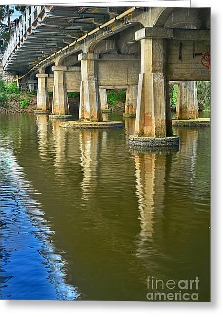 Bridge Pillars And Reflections 3 By Kaye Menner Greeting Card