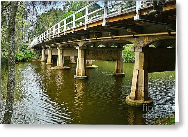 Bridge Pillars And Reflections By Kaye Menner Greeting Card