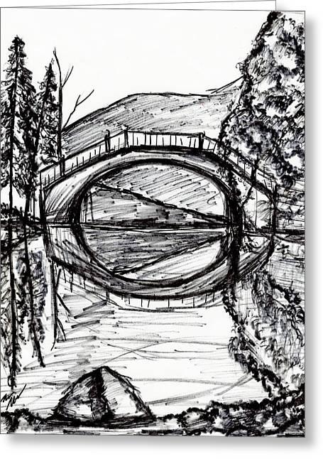Bridge Reflection Marker Black White Drawing Greeting Card