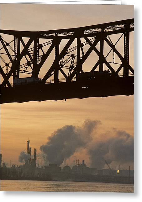 Bridge, River, And Skyline Full Of Air Greeting Card by Kenneth Garrett