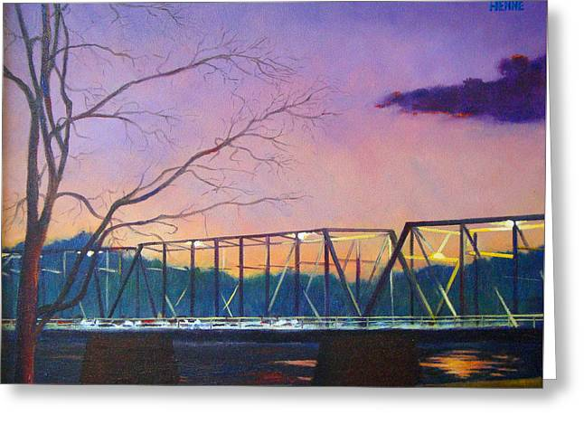 Greeting Card featuring the painting Bridge Sunset by Robert Henne