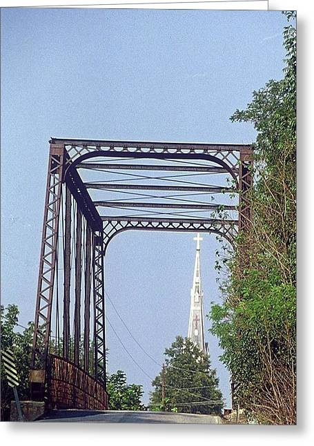 Greeting Card featuring the photograph Bridge To God by Gary Wonning
