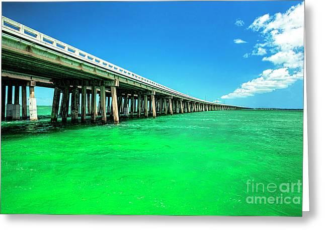 Bridge To Heavenly Clouds, Florida Keys Greeting Card