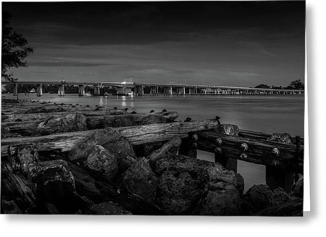 Bridge To Longboat Key In Bw Greeting Card