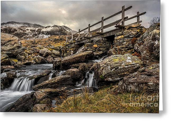 Bridge To Moutains Greeting Card by Adrian Evans