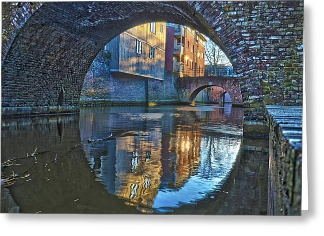 Bridges Across Binnendieze In Den Bosch Greeting Card