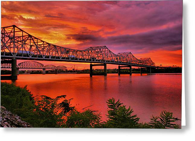 Rivers Ohio Greeting Cards - Bridges At Sunrise Greeting Card by Steven Ainsworth