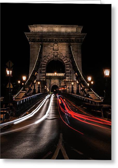 Bridges Of Budapest - Chain Bridge Greeting Card by Jaroslaw Blaminsky