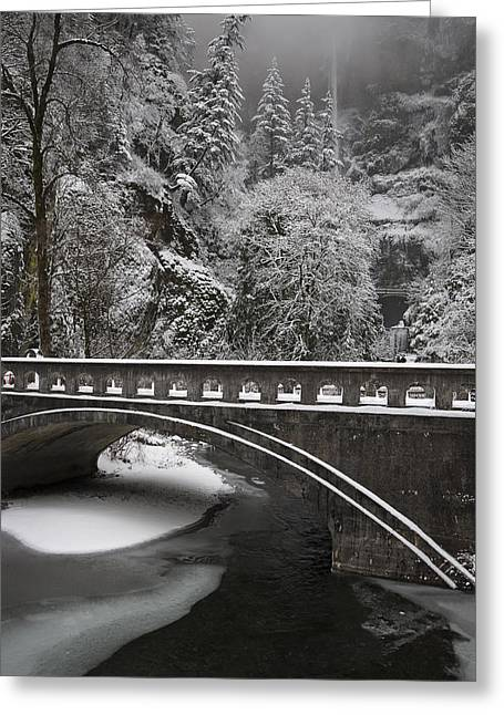 Bridges Of Multnomah Falls Greeting Card by Wes and Dotty Weber