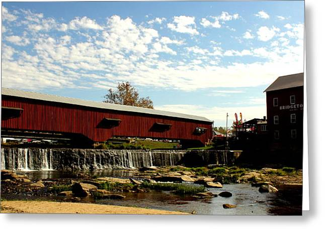 Bridgeton Covered Bridge And Mill By Earl's Photography Greeting Card by Earl  Eells a