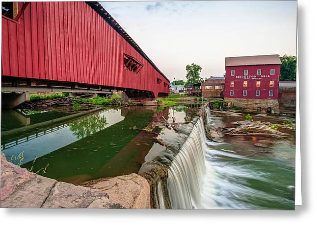 Bridgeton Covered Bridge And Red Mill Greeting Card