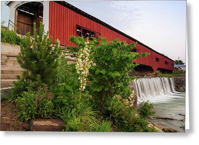 Bridgeton Covered Bridge - Indiana Square Art Greeting Card by Gregory Ballos