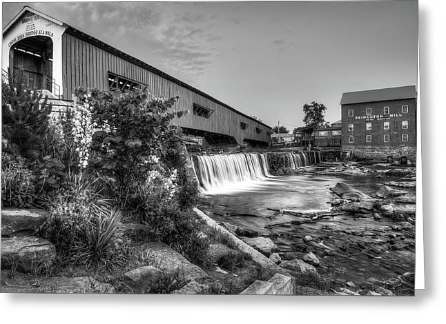 Bridgeton Mill And Covered Bridge - Indiana - Black And White  Greeting Card by Gregory Ballos