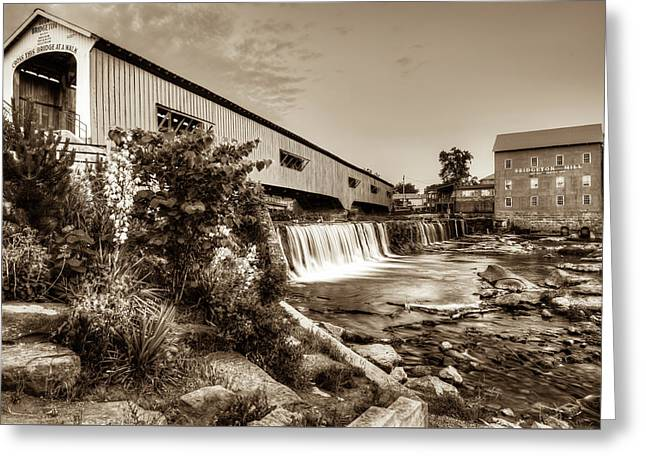 Bridgeton Mill And Covered Bridge - Indiana - Sepia Greeting Card by Gregory Ballos