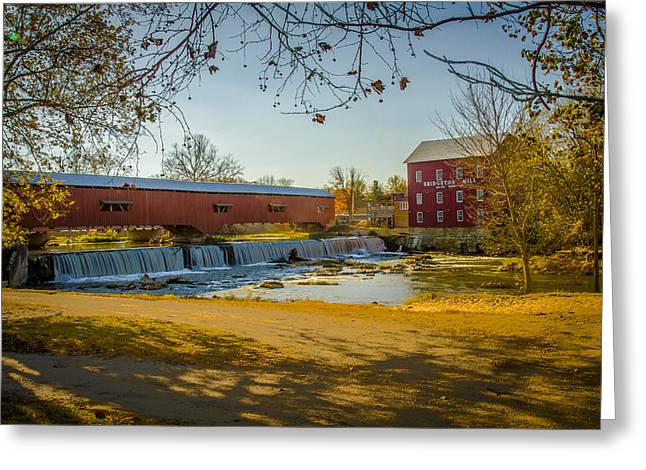Bridgeton Mill Covered Bridge Greeting Card by Jack R Perry