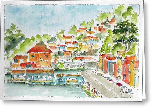 Greeting Card featuring the painting Bridgeway Boulevard Sausalito by Pat Katz