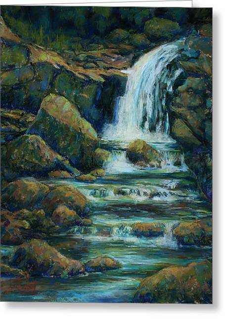 Veiled Pastels Greeting Cards - Bridle Veil Falls Greeting Card by Billie Colson