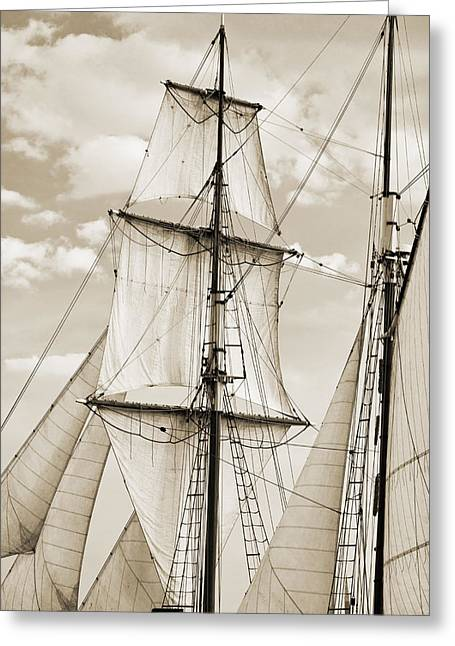 Tall Ships Greeting Cards - Brigantine Tallship Fritha Sails and Rigging Greeting Card by Dustin K Ryan