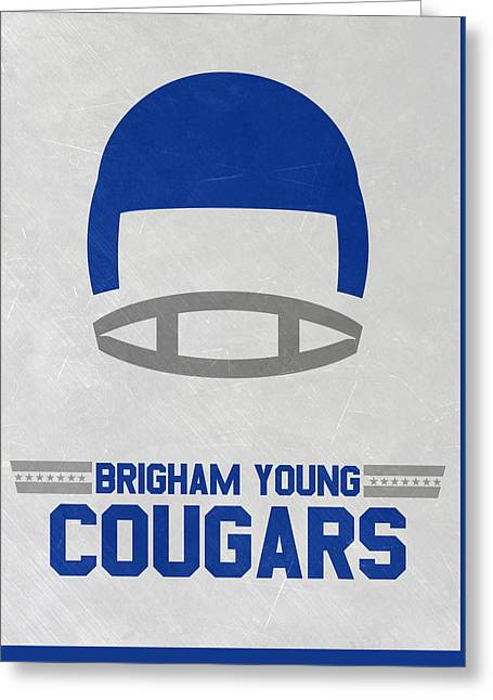 Brigham Young Cougars Vintage Football Art Greeting Card by Joe Hamilton