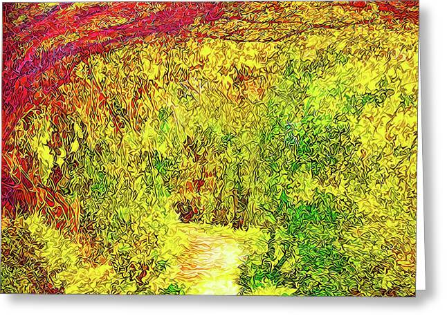 Greeting Card featuring the digital art Bright Afternoon Pathway - Trail In Santa Monica Mountains by Joel Bruce Wallach