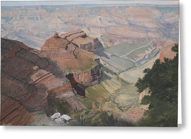 Bright Angel Trail Looking North To Plateau Point, Grand Canyon Greeting Card