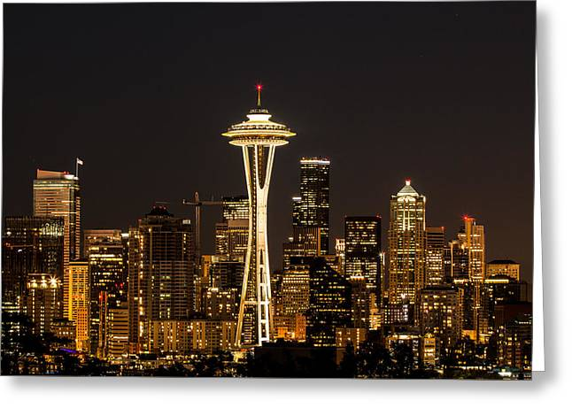Bright At Night - Space Needle Greeting Card
