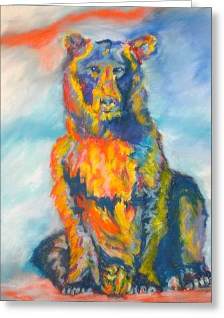 Greeting Card featuring the pastel Bright Bear by Pat Crowther