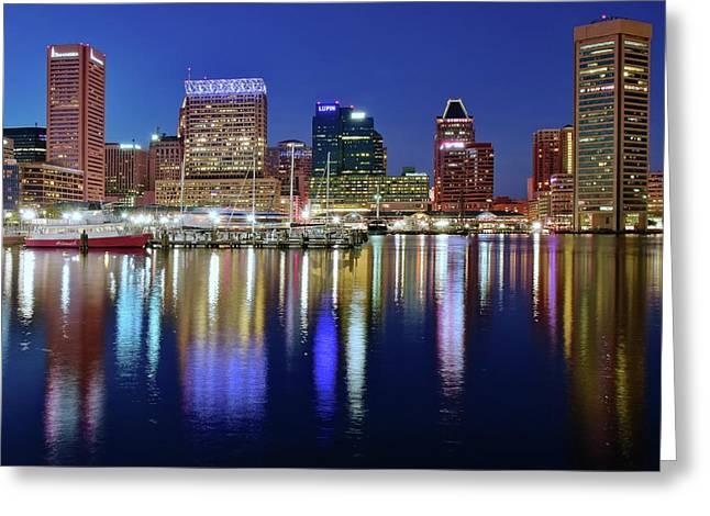 Bright Blue Baltimore Night Greeting Card