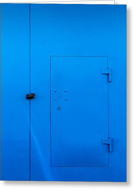 Bright Blue Locked Door And Padlock Greeting Card