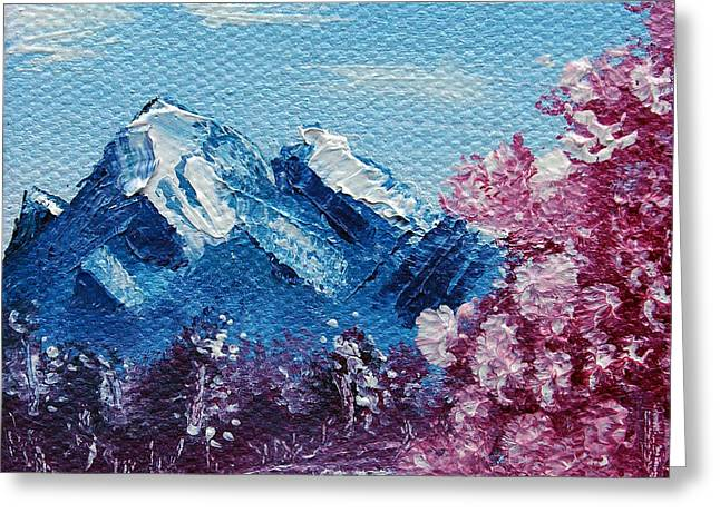 Bright Blue Mountains Greeting Card by Jera Sky
