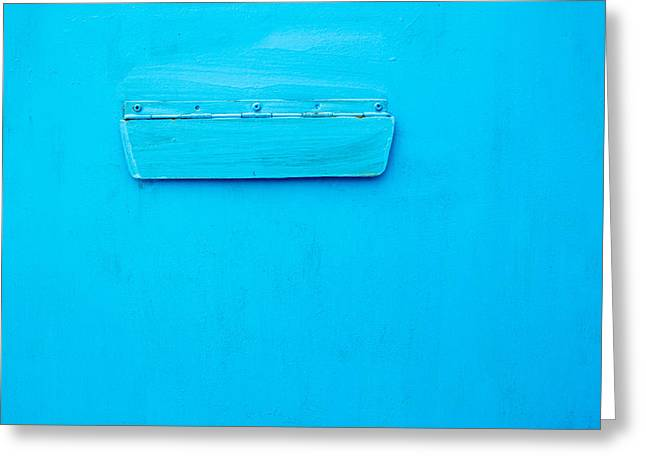 Bright Blue Paint On Metal With Postbox Greeting Card by John Williams