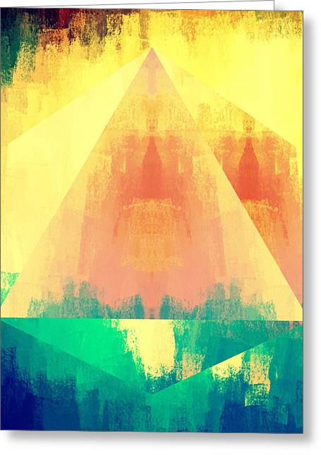 Bright Bold Abstract Pyramid Greeting Card by Brandi Fitzgerald
