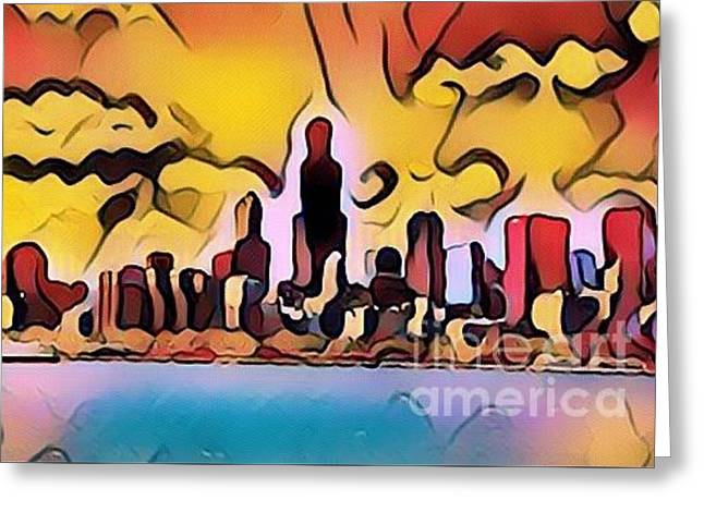 Bright City Of Chicago Greeting Card by Douglas Sacha