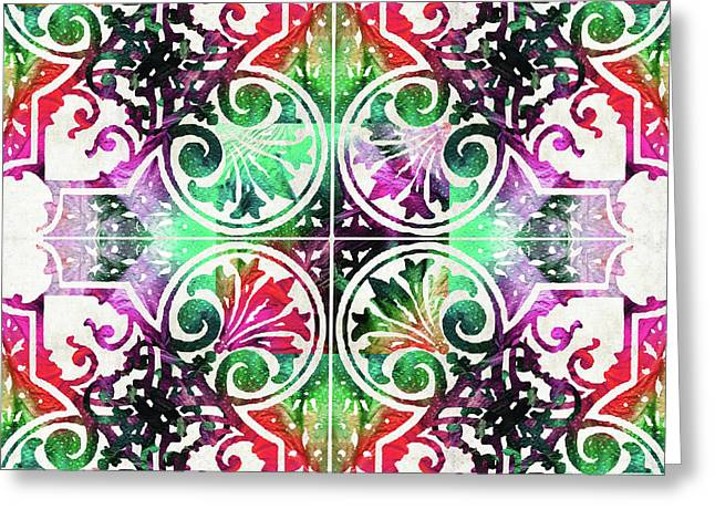 Bright Colorful Pattern Art - Color Fusion Design 10 By Sharon Cummings Greeting Card by Sharon Cummings