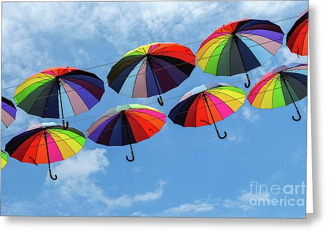 Bright Colorful Umbrellas  Greeting Card