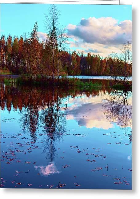Bright Colors Of Autumn Reflected In The Still Waters Of A Beautiful Forest Lake Greeting Card